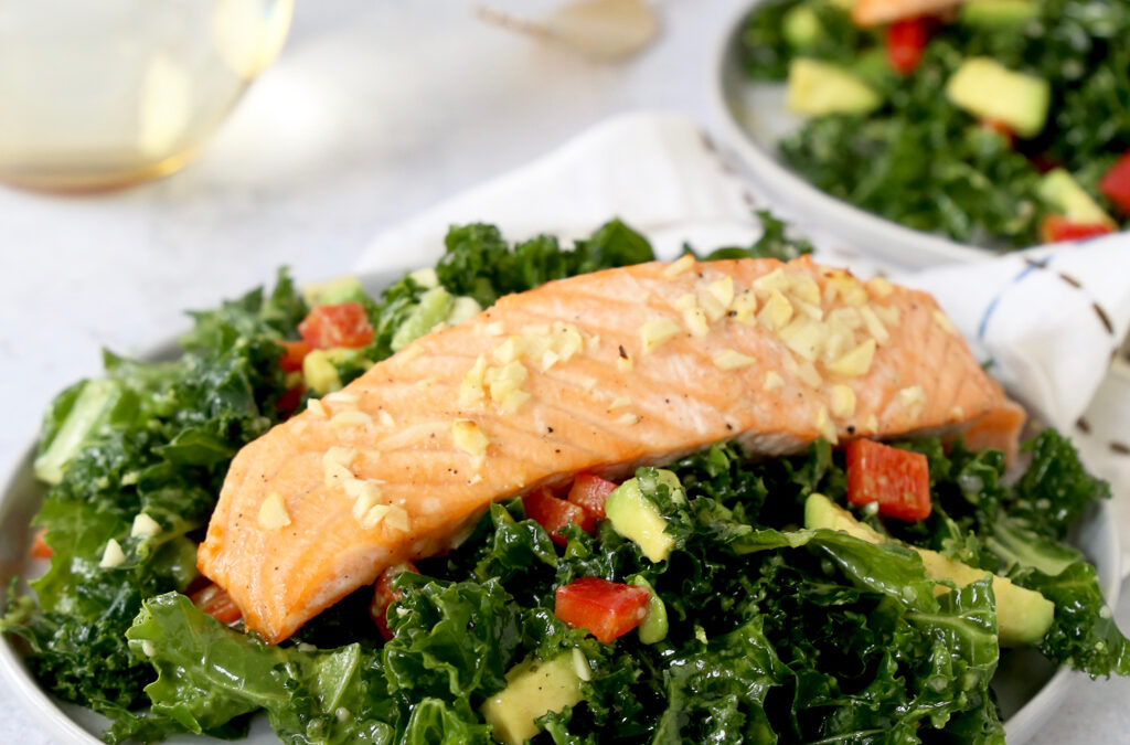 Honey-Garlic Salmon with Chopped Kale Salad