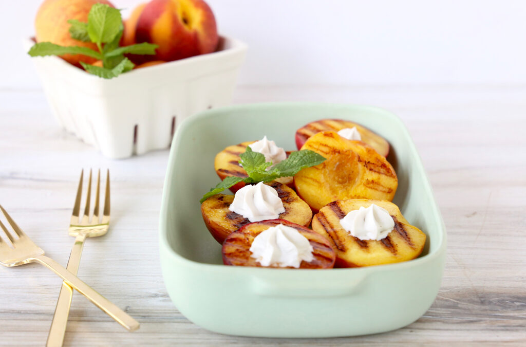 Grilled Peaches with Maple Coconut Whipped Cream